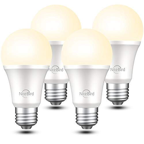 Smart Light Bulb Works with Alexa Google Home Siri,No Hub Required, NiteBird WiFi Dimmable 800 Lumen Warm White A19 E26 2700K LED Lights Bulbs, 8W (75W Equivalent),4 Pack