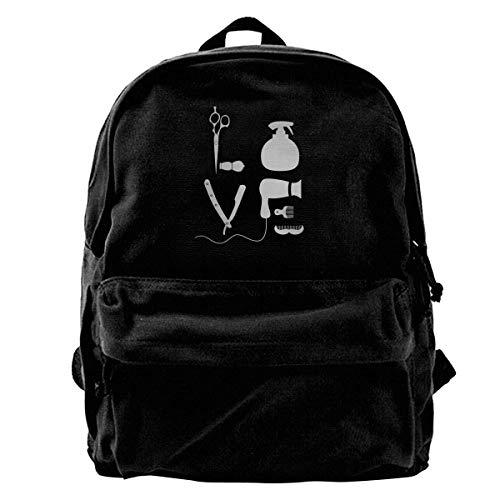 Yuanmeiju Zaino di tela BARBER SALON PARRUCCHIERE LOVE Zaino Palestra Escursionismo Borsa a tracolla per laptop Daypack per uomo Donna