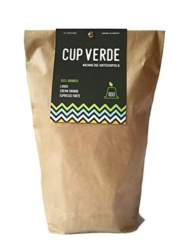 CUP VERDE – nachhaltige Kaffeekapseln Nespresso* kompatibel. Kompostierbar– fair gehandelt - schonend geröstet. 100 Kapseln im Mixpaket Lungo, Crema Grande, Espresso Forte