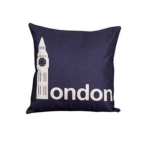 iHome Kussensloop Decoratieve Case, katoen linnen, ruimte 45 x 45 cm, romantische hoofdstad Londen (donkerblauw)