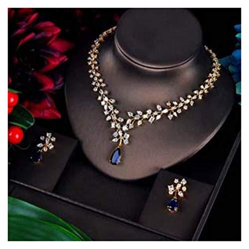 LIYDENG Joyas Charm Blue Water Drop Jewelry Sets Gold Color Boda Collar Pendientes Conjuntos (Color : Gold Color)