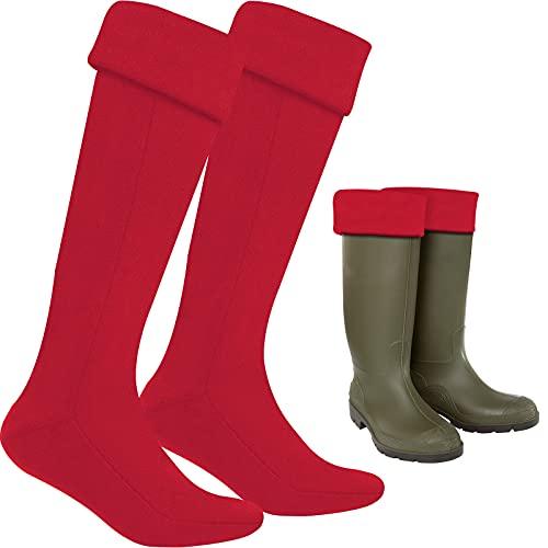 Neer Calcetines de Bota Adulto de Vellón Largos Térmicos Wellington (Medio, Rojo)