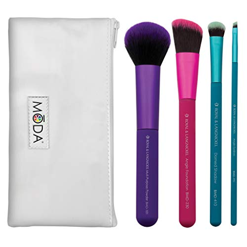 MODA Full Size Complete 5pc Makeup Brush Set with Pouch, Includes - Multi-Purpose Powder, Angle Foundation, Domed Shadow, and Angle Liner Brushes, Multicolor