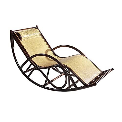 DGDF Silla mecedora de mimbre tradicional tejida a mano, apta para jardín, patio, balcón, sala de estar, 170 x 70 x 90 cm