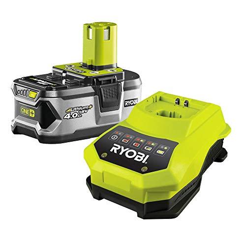 Ryobi RBC18L40 Akku, Batterie mit kompaktem Schnell-Ladegerät im Set, 18 V/4.0 Ah Lithium Ionen, Überlastschutz, erhöhte Leistung und Lebensdauer, Art.-Nr. 5133001907