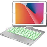 iPad Keyboard Case for iPad 10.2 inch 8th Gen 2020, iPad 7th Gen 2019, iPad Air 3 10.5 2019, iPad Pro 10.5 2017, 360 Rotation, 7 Colors Backlight, with Apple Pencil Holder - Silver