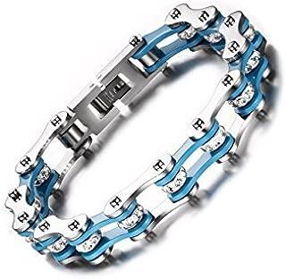 Unisex Stainless Steel Motorcycle Biker Chain Link Bracelets with Rhinestones (silver-blue)