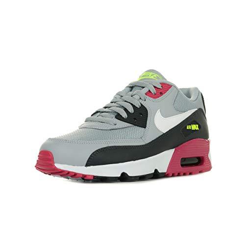 Nike Air Max 90 Mesh (GS), Scarpe da Atletica Leggera Uomo, Multicolore (Wolf Grey/White/Rush Pink/Volt 000), 38.5 EU