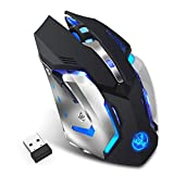 AHAQ Mouse Wireless, Mouse Ricaricabile Silenzioso, Mouse da Gioco e-Sports, Ricarica USB, Adatto per Giochi e Ufficio, Laptop, PC.
