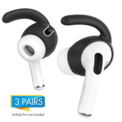AHASTYLE AirPods Pro Ohrhaken, 3 Paar, Anti-Rutsch-Ohrhüllen, Silikon-Zubehör, passt Nicht in die Ladehülle - kompatibel mit Apple AirPods Pro 2019