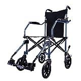Einkaufstrolleys Rollstuhl Rollstuhl aus Aluminiumlegierung Multifunktions-Rollstuhl für ältere Menschen Klappbarer Rollstuhl Kann 100 kg tragen (Color : Black, Size : 55 * 97 * 53cm)