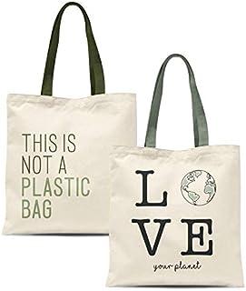 TIENDA EURASIA® Bolsas de Compra Reutilizables - Pack de 2 Bolsas de Tela 100% Algodón Ecológicas - 36 x 48 cm