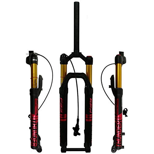 """Bike Suspension Forks Mountain Bike Suspension Fork 27.5"""" 29 Inch Air Shock Absorber DH Bicycle Front Fork MTB 1-1/8 Straight Steerer 100mm Travel Thru Axle Remote Lockout"""