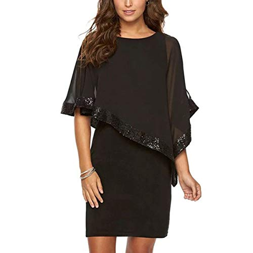 LANSITINA Shawls and Wraps for Evening Dresses or Formal Dress Bridal Parties with Sequins (W03 Black)