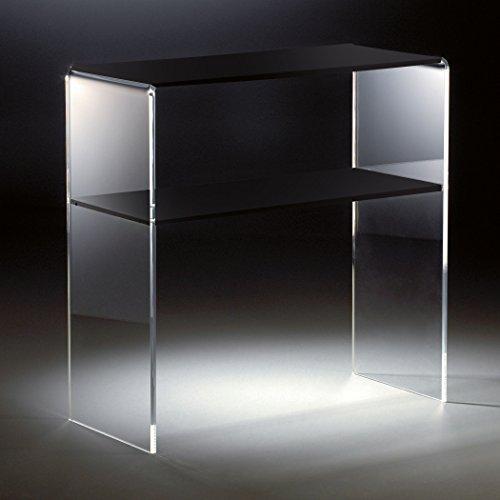 HOWE-Deko Hochwertiges Acryl-Glas Standregal, Konsole mit 2 Fächern, klar/schwarz, 70 x 30 cm, H 70 cm, Acryl-Glas-Stärke 12 mm