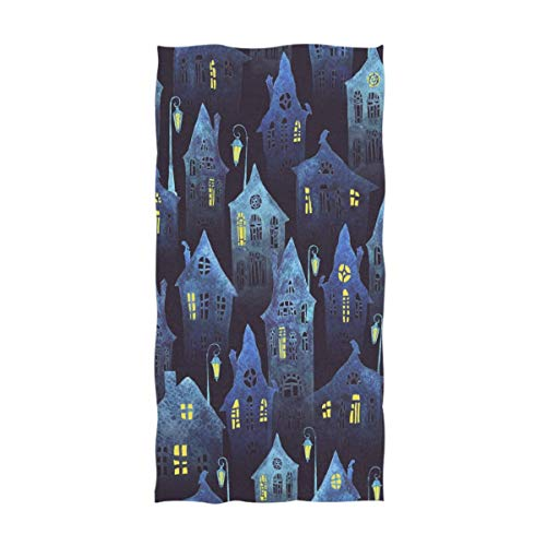 Not Applicable Hotel Handtuch, Halloween Nacht Crooked Houses Muster Soft Guest Handtuch für Badezimmer Steam SPA Handtuch 80x130cm