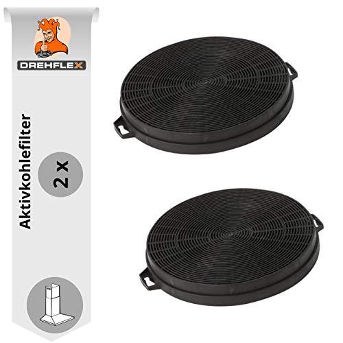 DREHFLEX - AK01-2 - 2 Kohlefilter (SPARSET) 210mm Durchmesser für Dunsthaube, Dunstabzugshaube, Abzugshaube
