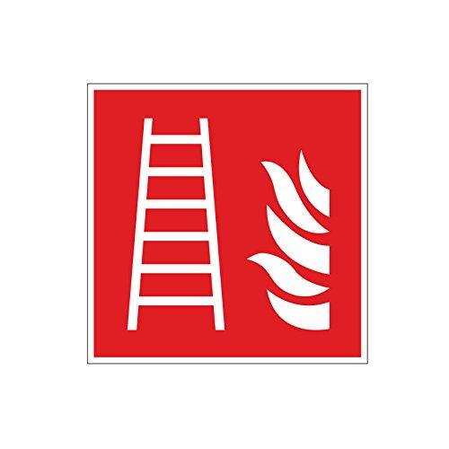 easydruck24de Brandschutzaufkleber F003: Feuerleiter, 10x10cm, Art. hin_159, DIN EN ISO 7010, Hinweis, Achtung, Warnhinweis, Brandschutz, Feuerleiter