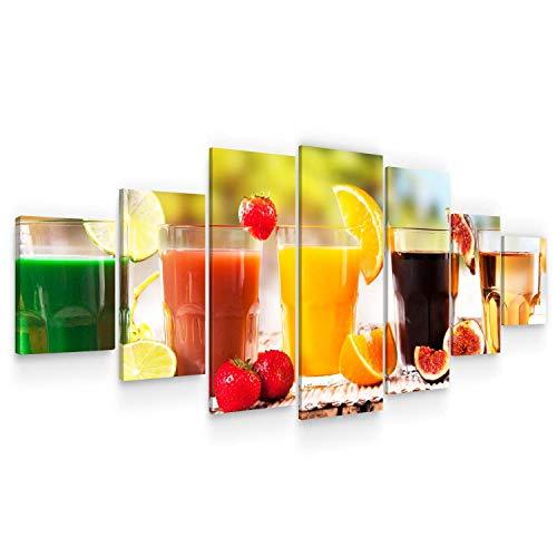 Startonight Huge Canvas Wall Art grote gezonde dranken, vers sap mix fruit, USA grote Home Decor, Dual View Surprise Artwork moderne ingelijste muur Art Set van 7 panelen totaal 100 x 240 cm