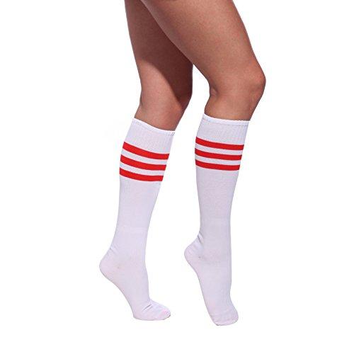 Anladia Weiss-Rot Damen Maedchen Fussball Stutzen SportSocken Sport Socken Strumpf Stutzenstruempfe Fussballstutzen Sportstruempfe