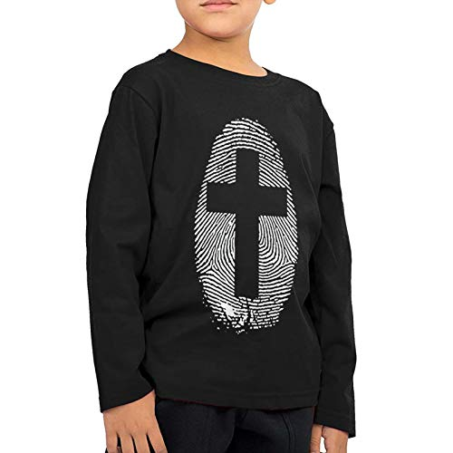 Cross Thumbprint Kids T-Shirt Long Sleeve Boys Girls T-Shirt Black