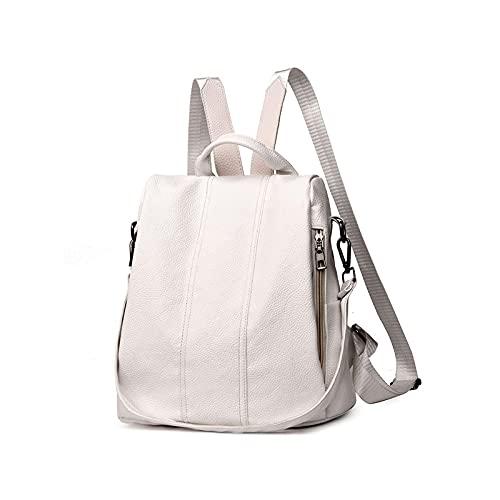 Verano Blanco Moda PU Cuero Anti-Ladrón Mochila Gran Capacidad Escuela Bolsa para Adolescentes Niñas Multifunción Casual Sac a Dos