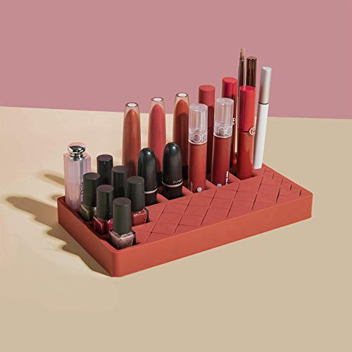 Lipstick Holder,Cosmetic Makeup Organizer for Lipstick,Nail Polish,Brushes (Red)