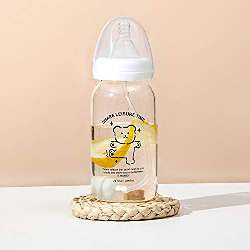 Lindo chupete botella de agua patrón de vidrio taza de paja de vidrio niño niña estudiante pareja taza portátil 330 ml