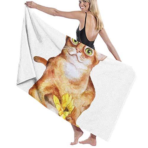 Toallas de playa compactas con diseño de gato sobre fondo blanco, absorbentes para adultos, niñas, mujeres, niños, 80 x 130 cm