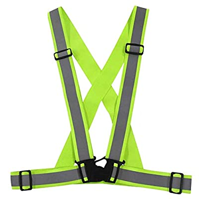 Reflective Highly Visible Safety Vest,Fully Adjustable & Multipurpose Reflective Gear for Running,Cycling,Dog Walking and Motorcycle Safety - Neon Green