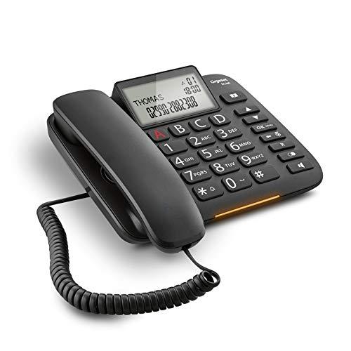 Gigaset DL380 - Teléfono (Teléfono analógico, Terminal con conexión por Cable, Altavoz, 99 entradas, Identificador de Llamadas, Negro)