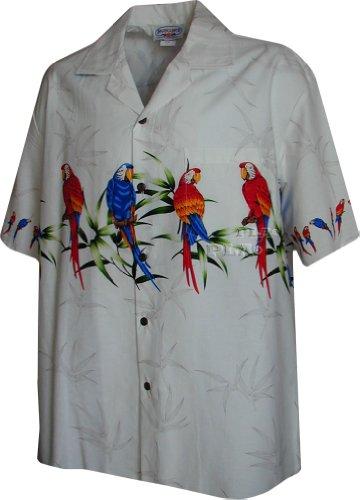 Preisvergleich Produktbild Tropical Papagei Hawaii-Hemden Herren Hawaii-Hemden Aloha-Shirt Hawaii-Hemd - Weiß - XX-Large