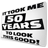 KIMDFACE 大型 マウスパッド 50歳の誕生日おかしいハッピーフェイスプリント 個性的 おしゃれ 柔軟 かわいい ゲーミングマウスパッド PC ノートパソコン オフィス用 デスクマット 滑り止め 特大 マウスマット