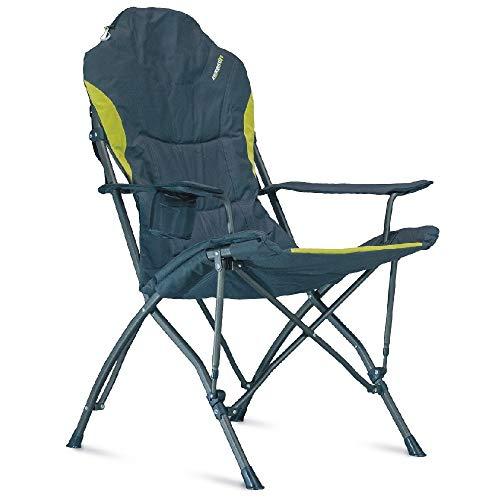 Campingstuhl extra hoher Rückenlehne, weich gepolstert für hohen Sitzkomfort, isolierter Getränkehalter für kühle Getränke. Tragkraft bis 120Kg. Farbe: schwarz-grün