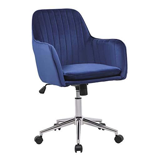 LPEAK Bürostuhl Blau Samt Ergonomisch Schreibtischstuhl Computerstuhl Arbeitsstuhl Drehstuhl mit Gekippt Verstellbare Höhe für