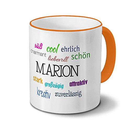 printplanet Tasse mit Namen Marion - Positive Eigenschaften von Marion - Namenstasse, Kaffeebecher, Mug, Becher, Kaffeetasse - Farbe Orange