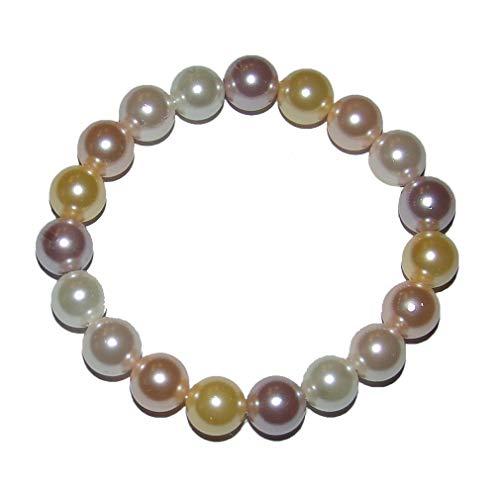 Muschelkern Perlen Kugel Armband 10 mm Pastell Farben auf stabilem Stretchband aufgezogen