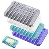 TATAFUN Silikon Seifenschale mit Ablauf, 4 Stück Kreative Selbstleerend Silikon Dusche Seifenhalter Seifenablage, Seifenkiste Für Seife Scrubber Schwämme