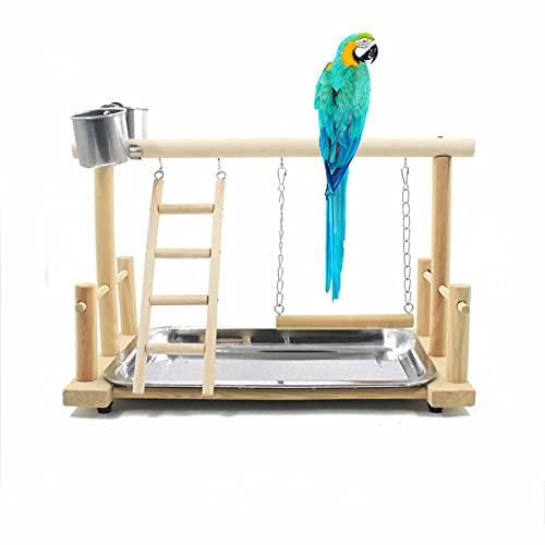 Papagei Vogel Spielplatz Holz Barsch Gym Vogelständer Laufstall Leiter mit Feeder Cups Vogel Nymphensittich Spielzeug Übungsspiel(D:36 * 23 * 25CM)