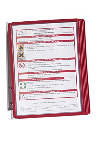 Durable 555103 Wand-Sichttafelsystem (Vario Wall 5, mit 5 Sichttafeln A4) rot