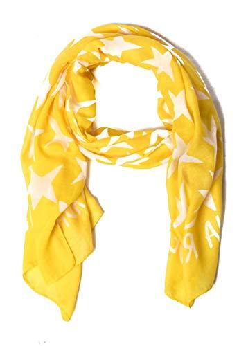 Pañuelos Fular Foulard Mujer Bufandas Estampado Diseño amarillo con estrellas blancas Agatha Ruiz de la Prada 180 x 90cm