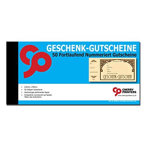 Cherry Art Deco Geschenk-Gutscheine für Kunden (50 Stück), 200 g/m², 210m x 99mm
