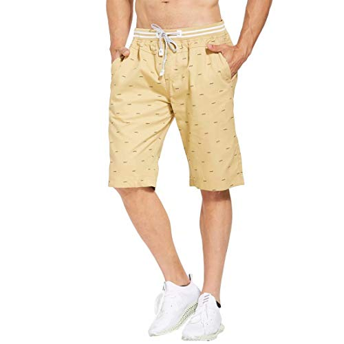 Tansozer Men's Shorts Casual Classic Fit Drawstring Summer Beach Shorts with Elastic Waist and Pockets (Khaki, XX-Large)