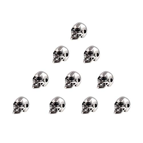 NBEADS 10PCS 925 Thai Sterling Silver Skull Beads Micro Pave CZ Crystal Cubic Zirconia Skull Beads for Bracelet Necklace Charm Beads, 13x7.5x9mm, Hole: 2mm