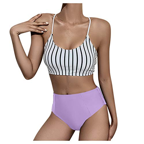 Bikini sexy de dos piezas para mujer, espalda abierta, diseño de rayas, cintura alta, ajustable, a rayas