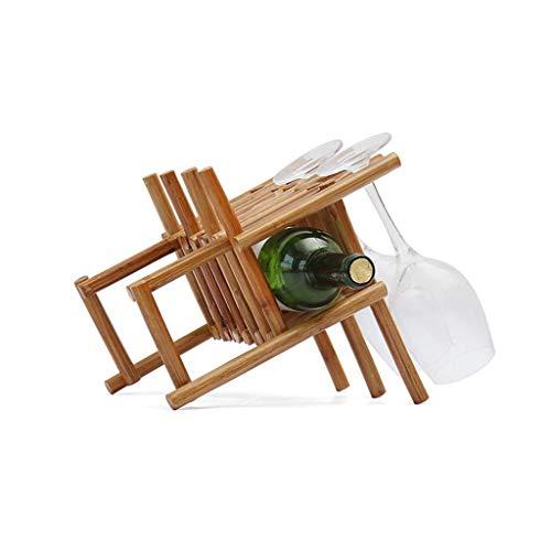 Mnjin - Botellero creativo para botellas de vino, soporte para copas de vino tinto al revés, soporte para botellas de hogar europeo, para salón, simple y de madera maciza, soporte para botel