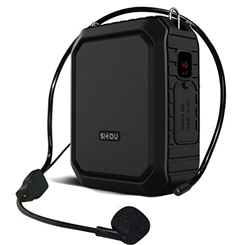 Bluetooth Voice Amplifier Waterproof 18W, Headset Speaker with Microphone, 4400mah Rechargeable Small Portable Amplifier Mini Amp Personal Voice Saver Back Clip Belt for Teachers, Tour guide etc