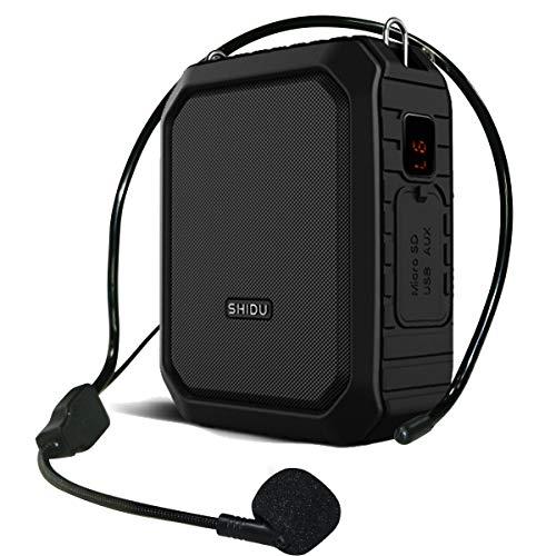 SHIDU Amplificador de voz Bluetooth microfono con altavoz,18W voice amplifier impermeable personal portátil recargable de,para de altavoz maestros, guías turísticos, yoga, profesor ect
