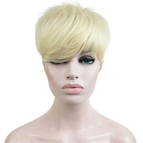 Aimole Synthetic Short 6 Inches Straight Wig Heat Resistant Full Capless Hair Party Wig (613-Pale Blonde)