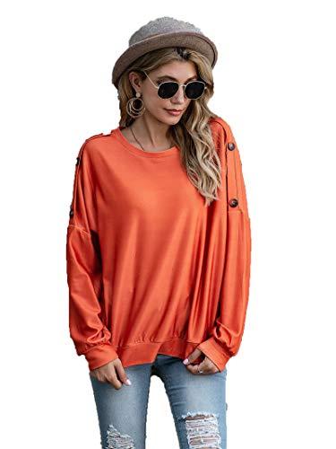 SLYZ Mujeres Europeas Y Americanas Primavera Moda Hebilla De Hombro Color Sólido Camiseta De Mujer Blusa De Manga Larga
